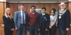 Rishi, Mike and Mike with the MYP and deputies
