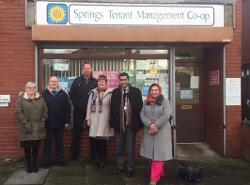 Rishi meets members of the Springs Housing Association